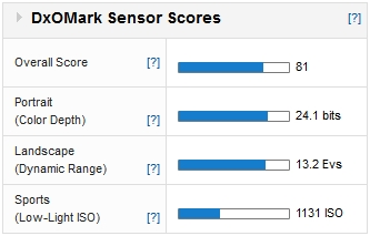 Nikon D3200: DxOMark Sensor Scores