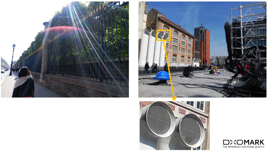 Strong flare visible on backlit pictures (left). Noticeable moire over high-frequency patterns (right).