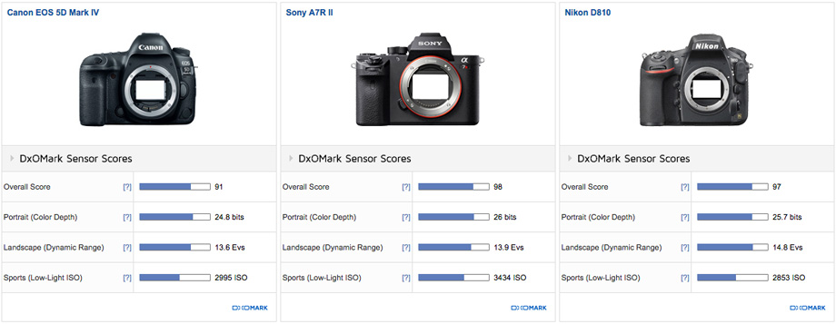 Canon EOS 5D Mark IV vs Sony A7R II vs Nikon D810