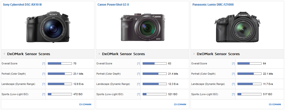 Sony Cybershot DSC-RX10 III vs. Canon PowerShot G3 X vs. Panasonic Lumix DMC-FZ1000: Class leader