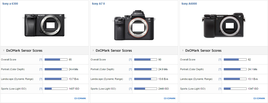 Comparison 1: Sony a 6300 vs. Sony A7 II vs. Sony A6000
