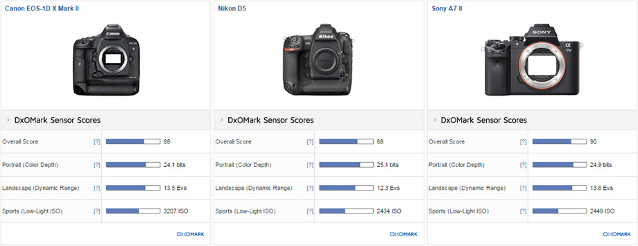 Canon EOS-1D X Mark II vs. Nikon D5 vs. Sony A7 II