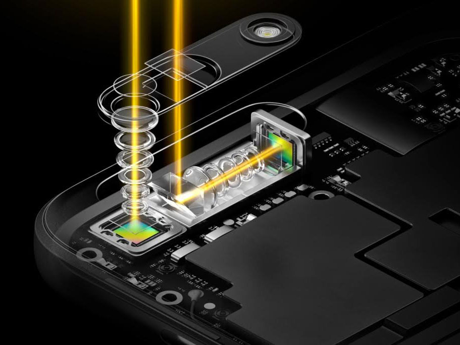 Illustration of folded optics used to create a dual-camera module -- Image by Oppo