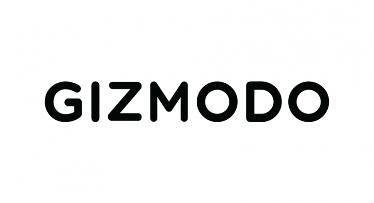 """Gizmodo"" written in black letters on a white background."